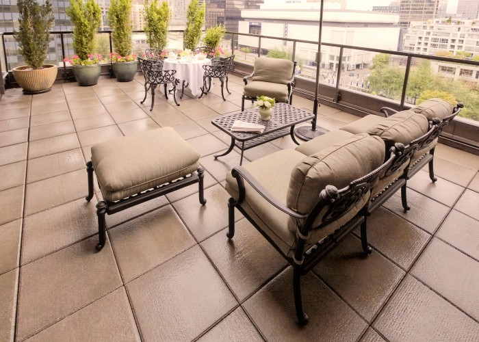Penthouse suites offer garden patios with views of Vancouver's downtown core.
