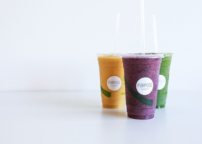 Purpose Smoothie Co. features several flavour-packed smoothies.