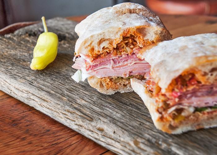 Railtown's meaty Muffuletta sandwich