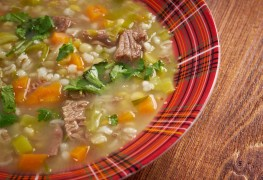 Robust beefy mushroom and barley soup