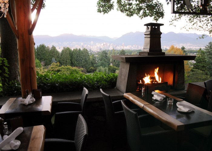 The year-round patio offers sweeping views and cozy fireplaces.