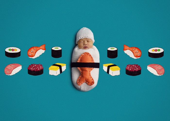 Kara Jensen Photography combines newborn photography with knitting and art, resulting in unique newborn photos, like this sushi baby