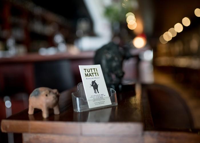 Interior of authentic Tuscan restaurant Tutti Matti.