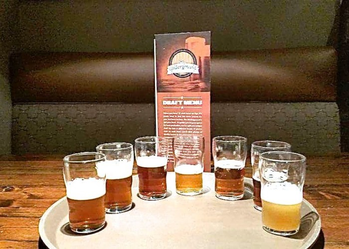 Underground Tap and Grill offers beer flights for those who want to sample a variety of new brews
