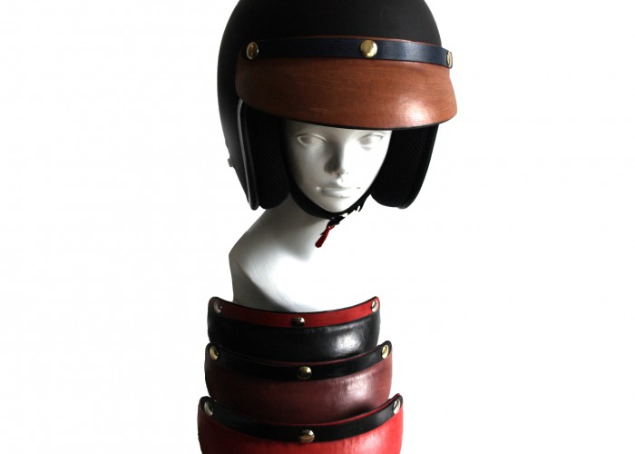 Torch Motorcycles produces a line of colourful leather visors.