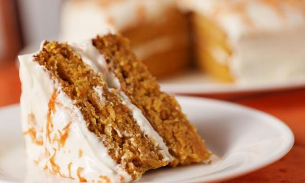 Homemade angel cake and orange buttercream frosting