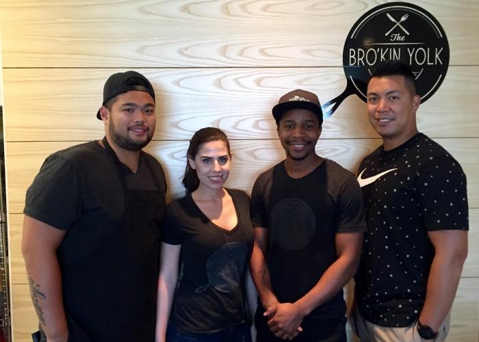 The Bro'Kin Yolk staff serve Filipino-influenced brunch dishes.