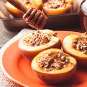 Peachy keen dessert: baked almond-stuffed peaches