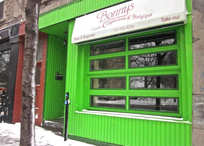 Bonnys is a vegetarian and organic restaurant in Montreal, specializing in burgers and comfort food like lasagna, chili and shepherd's pie.
