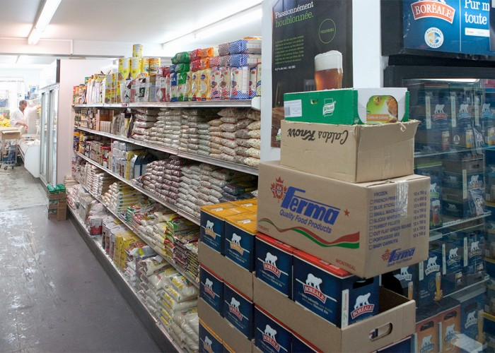 Sundry groceries, meat counter, Portuguese specialties, chouriço