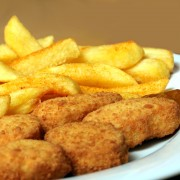 Comfort food: homemade chicken nuggets and French fries