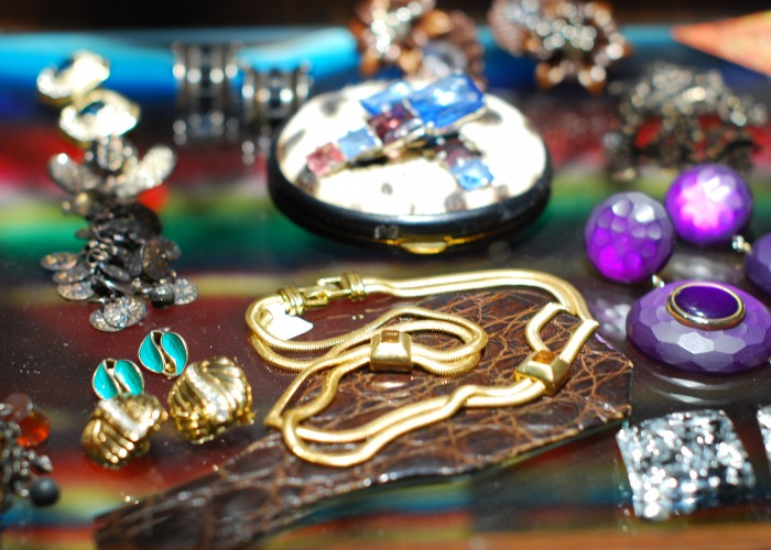 Vintage jewellery sparkles from Courage My Love's numerous display cases.