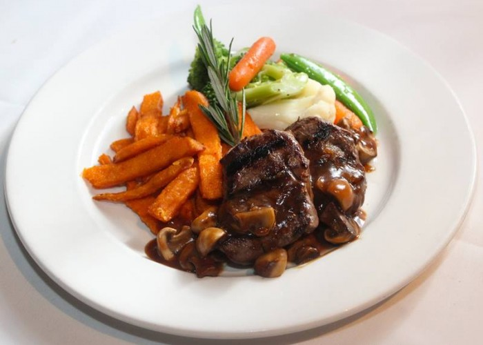 The Creperie serves more than just crepes; they also create elegant entrees, such as beef medallions.