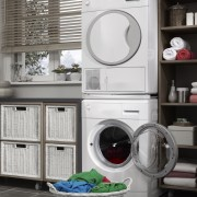 Save space with stacked washers and dryers