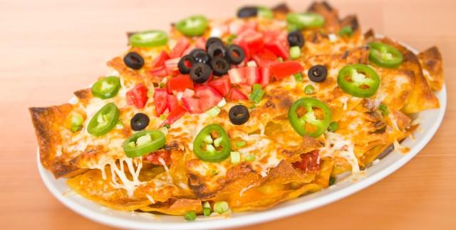 Classic nachos grande and savoury potato & zucchini tortillas