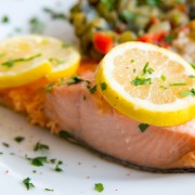 Dinner tonight: poached salmon with creamy dill sauce and baked skate