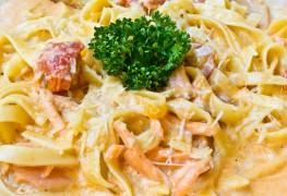Perfect pasta: salmon fettuccine and tortellini carbonara