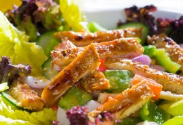 Spicy sesame chicken salad with wine–tarragon vinaigrette