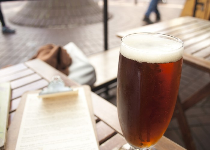 The street front patio at Six Acres provides a scenic spot for people watching in Gastown.