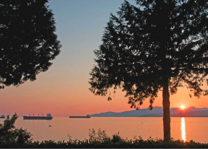 The scenic dining room overlooks Ferguson Point, offering gorgeous waterfront views.