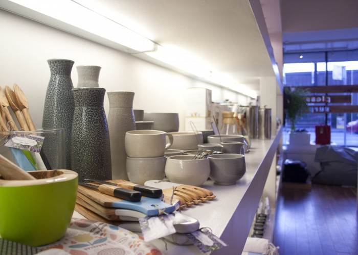 A collection of ceramics from local artisans on display at Walrus Design