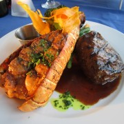 Recettes terre et mer: crevettes et bifteck de bavette